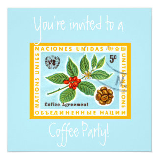 Vintage Blue Cafe Coffee Party Announcements