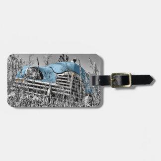 vintage blue car bag tag
