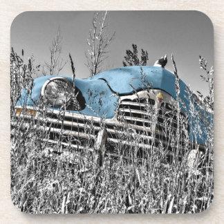 vintage blue car drink coasters
