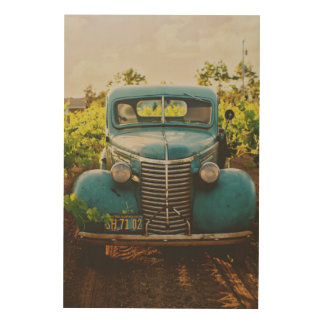 Vintage Blue Car Wood Wall Decor