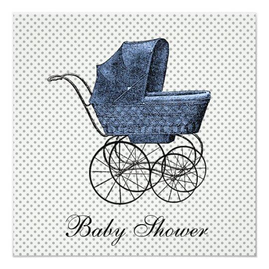 Vintage Blue Carriage Pram Baby Boy Shower Card