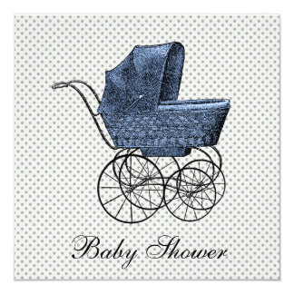 Vintage Blue Carriage Pram Baby Boy Shower 5.25x5.25 Square Paper Invitation Card