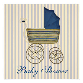 Vintage Blue Carriage Pram Vintage Baby Boy Shower 5.25x5.25 Square Paper Invitation Card