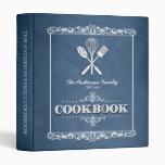 Vintage Blue Chalkboard Family Cookbook 3 Ring Binders