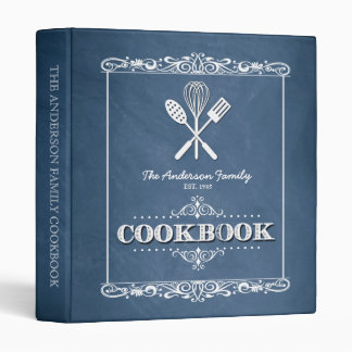 Vintage Blue Chalkboard Family Cookbook Binder