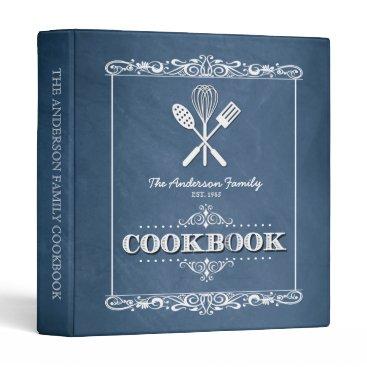 reflections06 Vintage Blue Chalkboard Family Cookbook Binder