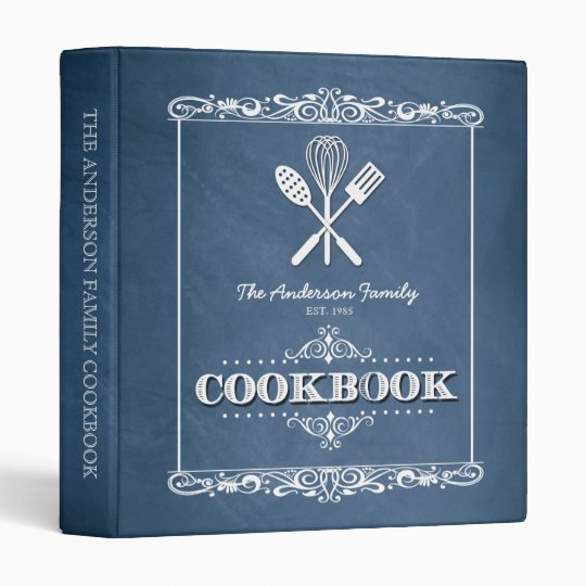 vintage blue chalkboard family cookbook binder zazzle com