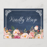 """Vintage Blue Chalkboard Floral Wedding RSVP Invitation Postcard<br><div class=""""desc"""">================= ABOUT THIS DESIGN ================= Vintage Blue Chalkboard Floral Wedding RSVP Card. (1) For further customization, please click the &quot;Customize it&quot; button and use our design tool to modify this template. All text style, colors, sizes can be modified to fit your needs. (2) If you need help or matching items,...</div>"""