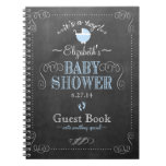 Vintage Blue Chalkboard Look Baby Shower Guestbook Notebook at Zazzle