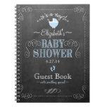 Vintage Blue Chalkboard Look Baby Shower Guestbook Notebook