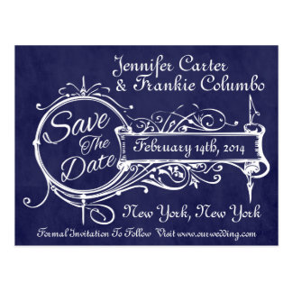 Vintage Blue Chalkboard Save The Date Postcard