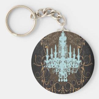 Vintage blue Chandelier Damask Fashion Basic Round Button Keychain