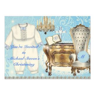 Vintage Blue Christening Invitation