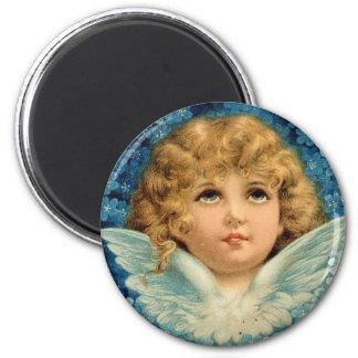 Vintage Blue Christmas Angel Victorian Baby Heaven Magnet