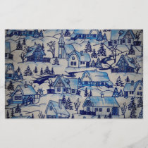 Vintage Blue Christmas Holiday Village