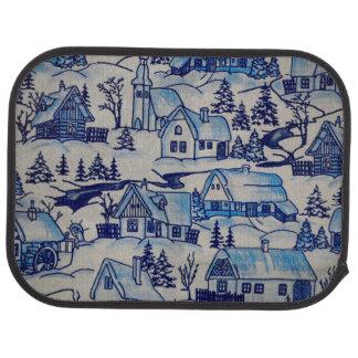 Vintage Blue Christmas Holiday Village Car Floor Mat