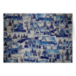 Vintage Blue Christmas Holiday Village Card