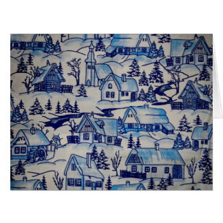 Vintage Blue Christmas Holiday Village Greeting Cards