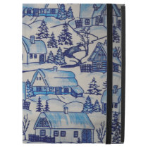 "Vintage Blue Christmas Holiday Village iPad Pro 12.9"" Case"