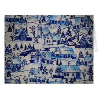 Vintage Blue Christmas Holiday Village Large Greeting Card