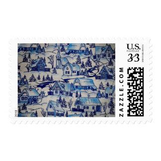 Vintage Blue Christmas Holiday Village Postage Stamps