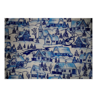 Vintage Blue Christmas Holiday Village Poster