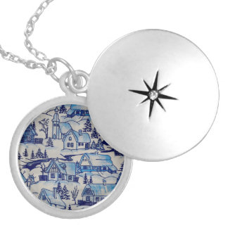 Vintage Blue Christmas Holiday Village Silver Plated Necklace