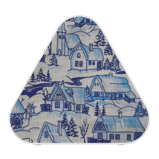 Vintage Blue Christmas Holiday Village Speaker