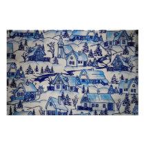 Vintage Blue Christmas Holiday Village Stationery