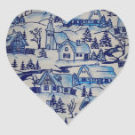 Vintage Blue Christmas Holiday Village Stickers