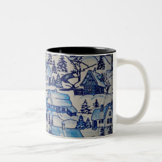Vintage Blue Christmas Holiday Village Two-Tone Coffee Mug