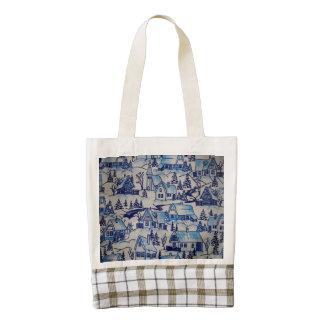 Vintage Blue Christmas Holiday Village Zazzle HEART Tote Bag