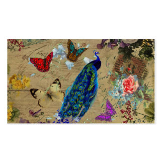 Vintage Blue Colorful Peacock Cute Butterfly Business Cards