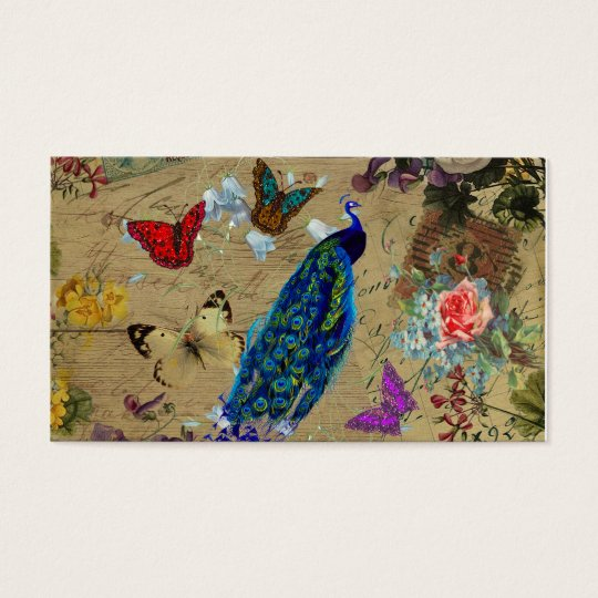 Vintage Blue Colorful Peacock Cute Butterfly Business Card