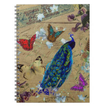 Vintage Blue Colorful Peacock Cute Butterfly Notebook