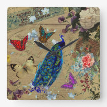 Vintage Blue Colorful Peacock Cute Butterfly Square Wall Clock