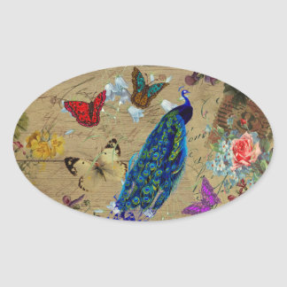 Vintage Blue Colorful Peacock Cute Butterfly Oval Sticker