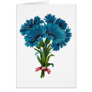 Vintage - Blue Cornflowers (Bachelor's Buttons) Card