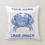 Vintage blue  crab pillow