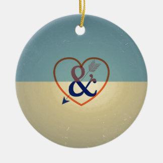 Vintage Blue Cream Design. Love & Heart Pattern Ceramic Ornament