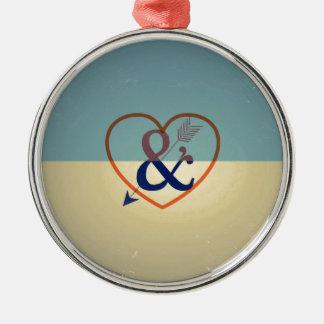 Vintage Blue Cream Design. Love & Heart Pattern Metal Ornament