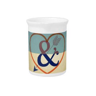 Vintage Blue Cream Design. Love & Heart Pattern Beverage Pitcher