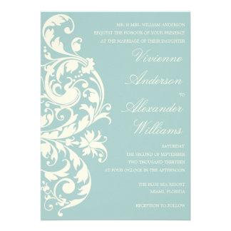 VINTAGE BLUE & CREAM FLOURISH   WEDDING INVITATION
