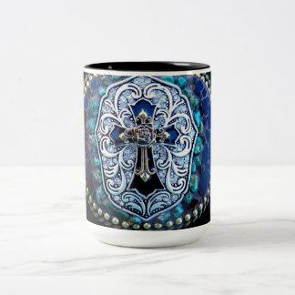Vintage Blue Cross Two-Tone Coffee Mug
