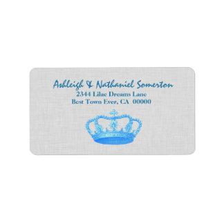 Vintage BLUE Crown Wedding V03 Personalized Address Label