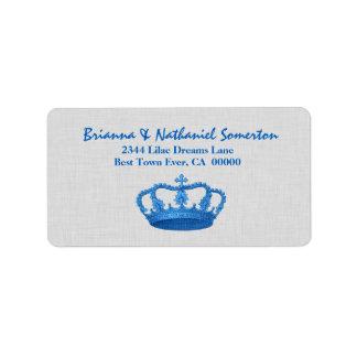 Vintage BLUE Crown Wedding V09 Personalized Address Label