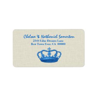 Vintage BLUE Crown Wedding V13 Personalized Address Labels