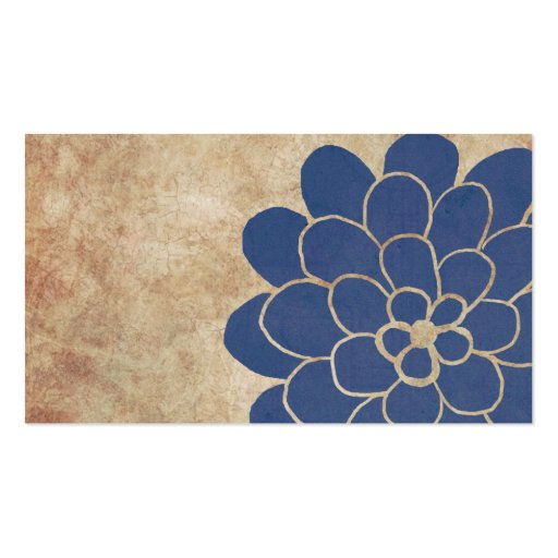 Vintage Blue Dahlia Floral Wedding Planner Business Card Templates (back side)