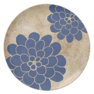 Vintage Blue Dahlia Floral Wedding Dinner Plates