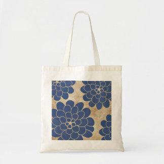 Vintage Blue Dahlia Floral Wedding Tote Bag